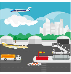 airport flat details and elements vector image