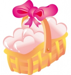 basket with hearts vector image vector image