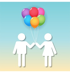 boy and girl with balloons vector image vector image