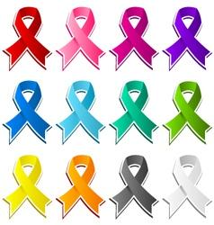 colorful set of awareness ribbons vector image