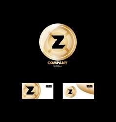 Letter Z golden circle logo vector image