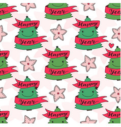 New year seamless pattern with trees for wrapping vector