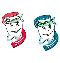 Toothbrush and dental paste vector image vector image