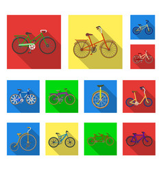 Various bicycles flat icons in set collection for vector