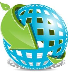 arrow around globe vector image vector image