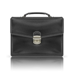 black leather briefcase vector image vector image
