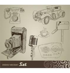 retro doodle set vector image