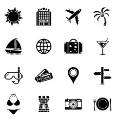 summer and beach icons vacation icon set vector image vector image