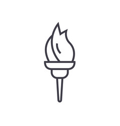 torch line icon sign on vector image vector image