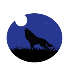 wolf howling moon vector image vector image