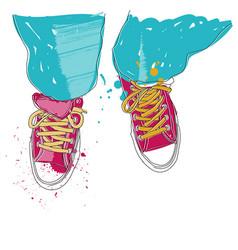 - pair of sneakers vector