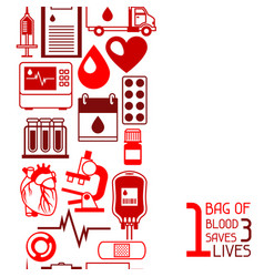 1 bag of blood saves 3 lives seamless pattern vector image