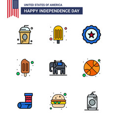 9 usa flat filled line pack independence day vector