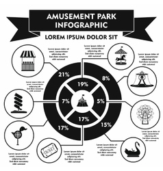 Amusement park infographic elements simple style vector image