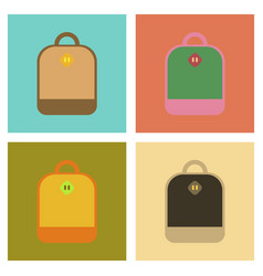 Assembly flat icons school bag vector