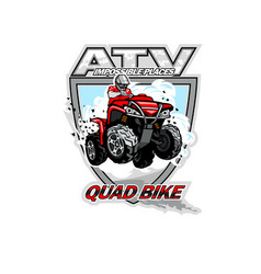 Atv off-road impossible places with red quadbike vector