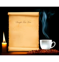 background with old paper and cup coffee vector image