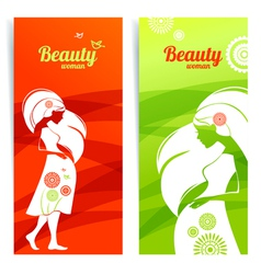 Banners with silhouette of pregnant woman vector