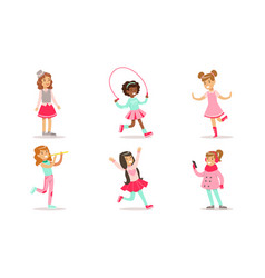 beautiful girls doing different activities set vector image
