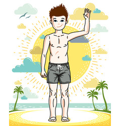 beautiful happy young teenager boy posing in vector image