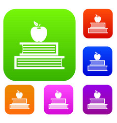 Books and apple set collection vector