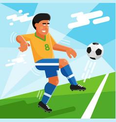 Brazilian soccer player with ball on football vector