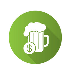 Buy beer flat design long shadow icon vector