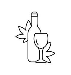 cannabis wine logo linear alcohol icon black vector image