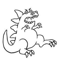 Cartoon big angry dinosaur vector