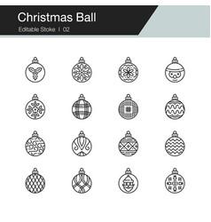christmas ball icons modern line design vector image