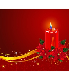 Christmas Candle with Poinsettia vector image