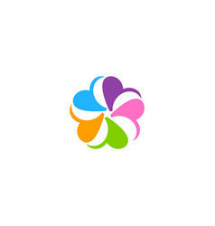circle colorful petal abstract flower logo vector image