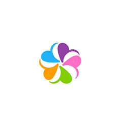 Circle colorful petal abstract flower logo vector