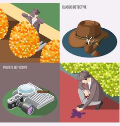 classic detective 2x2 design concept vector image