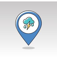 Cloud Rain Lightning pin map icon Weather vector