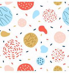 Colorful round geometric seamless pattern vector