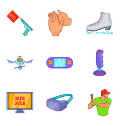 computer game icons set cartoon style vector image