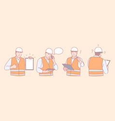 Construction engineer work planning and vector