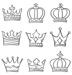 crown king and queen style doodle vector image