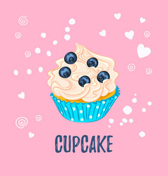 cupcake with cream and blueberry on pink vector image