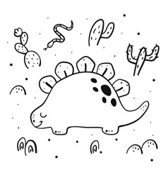 cute dinosaur in a desert coloring page vector image