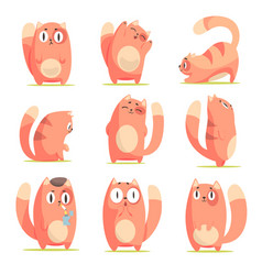 Cute red cartoon cat character with different vector