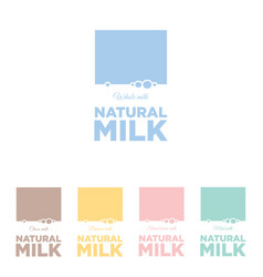 dairy emblem natural milk flat logo vector image