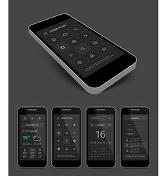 Dark mobile user aplication interface template vector image
