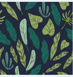 exotic leaves and foliage plants seamless pattern vector image
