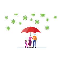 Family under umbrella avoid corona virus vector
