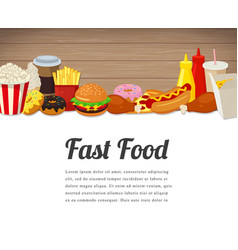 Fast food card design food background with vector