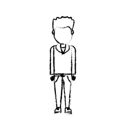 figure cute man with hairstyle design vector image