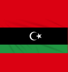 Flag libya swaying in the wind realistic vector