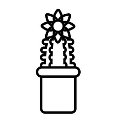 Flower cactus icon outline line style vector